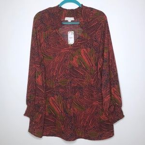 Suzanne Betro Weekend Blouse Size 1X Elastic Cuff